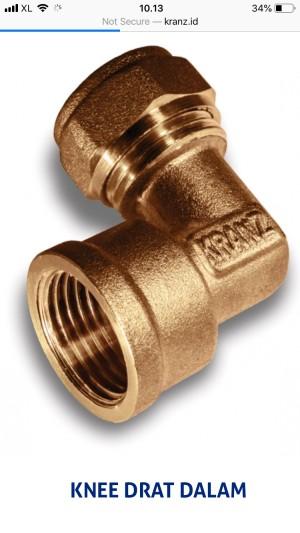Harga fitting kuningan knee drat dalam 3 4 x 1 2 sambungan selang air | HARGALOKA.COM