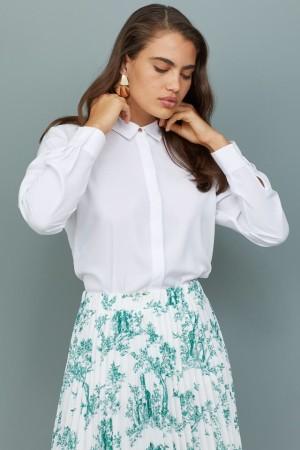Harga kemeja h amp m basic shirt white original cewek wanita putih kerja kantor   | HARGALOKA.COM