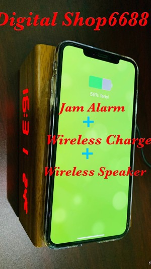 Harga jam alarm led wireless charger blutooth speaker temperature motif kayu     HARGALOKA.COM