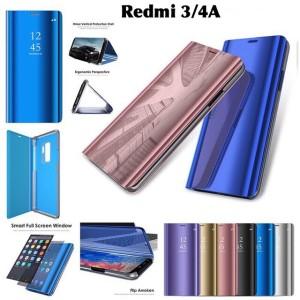 Harga flip cover auto lock mirror case xiaomi redmi 3 4a standing | HARGALOKA.COM