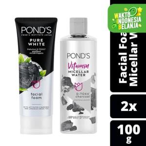 Harga ponds facial foam 100g amp micellar water d toxx charcoal   HARGALOKA.COM