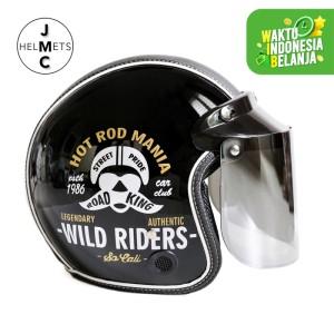 Harga helm bogo retro kaca datar wild riders hitam sni   | HARGALOKA.COM