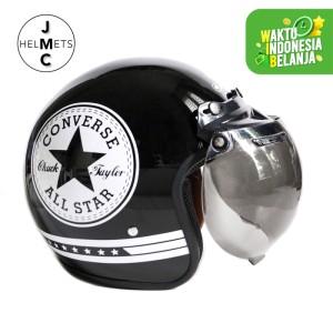 Harga helm bogo retro jmc motif converse putih hitam sni   kaca bogo | HARGALOKA.COM