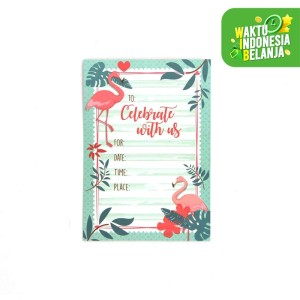 Harga kartu udangan birthday party invitation card   flamingo   HARGALOKA.COM