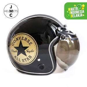 Harga helm bogo retro jmc motif converse gold hitam semi leather sni   kaca bogo | HARGALOKA.COM