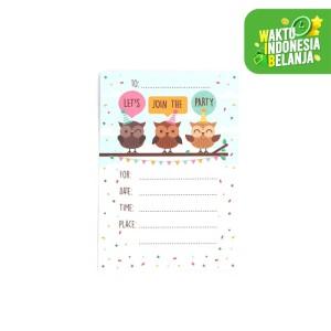 Harga kartu udangan birthday party invitation card   owl   HARGALOKA.COM
