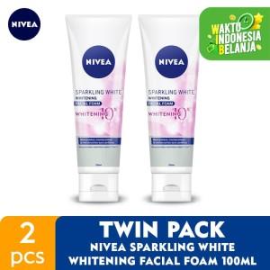 Harga nivea sparkling white whitening facial foam 100ml   twin | HARGALOKA.COM