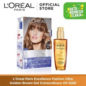 Harga l 39 oreal paris excellence fashion ultra cat rambut exoil   golden | HARGALOKA.COM