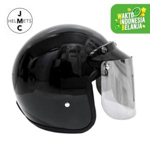 Harga helm bogo retro kaca datar polos hitam sni   | HARGALOKA.COM