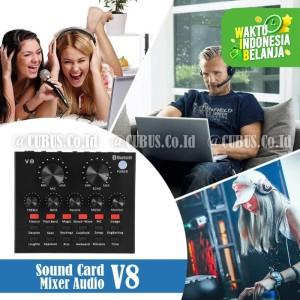 Harga soundcard v8s mixer audio usb external plus bluetooth   HARGALOKA.COM