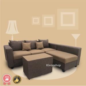 Harga sofa l davinci murah meriah plus meja dan kaca free ongkir   cokelat   HARGALOKA.COM