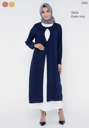 Harga baju gamis outer only uk allsize warna navy pastel   HARGALOKA.COM