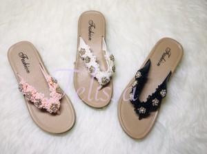 Harga sandal jepit wedges fashion wanita   putih   HARGALOKA.COM