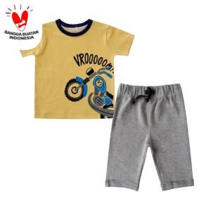 Harga bearhug setelan bayi laki laki motor vromm kuning xuf 6 18 bulan   3 6 | HARGALOKA.COM