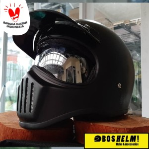 Harga helm cakil hbc inner visor hitam doff black helm retro helm | HARGALOKA.COM