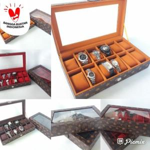 Harga price promo kotak jam tangan isi 12 all motif lv mono dan damier     HARGALOKA.COM
