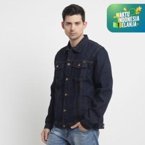 Harga papperdine 2311 raw denim jacket jeans pria 14 oz non stretch   biru   HARGALOKA.COM