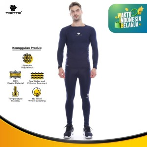 Harga tiento baselayer menset olahraga pria celana legging navy men 1 set   | HARGALOKA.COM