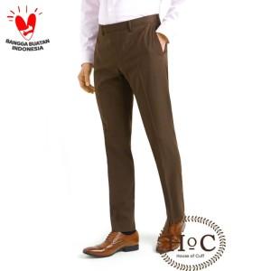 Harga houseofcuff celana bahan kerja pria formal slim fit coklat trouser   | HARGALOKA.COM