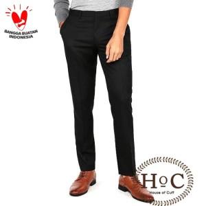 Harga celana kerja pria slim fit formal bahan houseofcuff hitam   | HARGALOKA.COM
