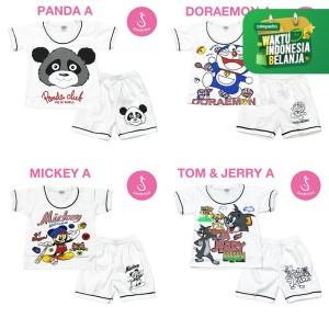 Harga katalog baju setelan bayi lengan pendek newborn shirton grosir   panda a size   HARGALOKA.COM