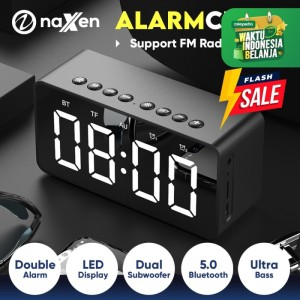 Harga naxen speaker alarm bluetooth mini portable with fm radio mirror   | HARGALOKA.COM
