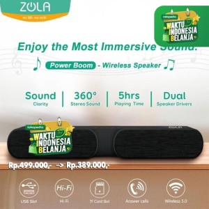 Harga zola power boom high definition sound wireless speaker bluetooth 5 | HARGALOKA.COM