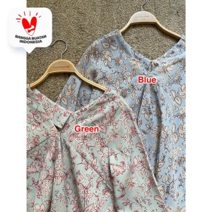 Harga cammomile blouse atasan wanita 1807010sp corak bunga lengan panjang   blue | HARGALOKA.COM