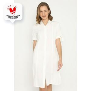 Harga mineola midi dress katun lengan pendek putih   | HARGALOKA.COM