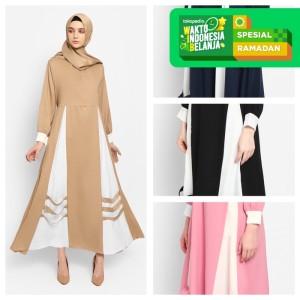 Harga kayser omira fashion muslim baju gamis wanita terbaru dress   navy all | HARGALOKA.COM