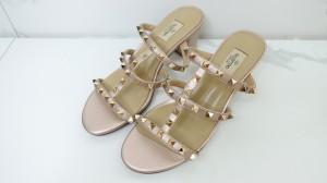 Harga valentino chunky heels rose gold vvip quality sepatu   HARGALOKA.COM