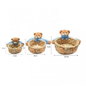 Harga keranjang souvenir boneka beruang biru ukuran kecil | HARGALOKA.COM