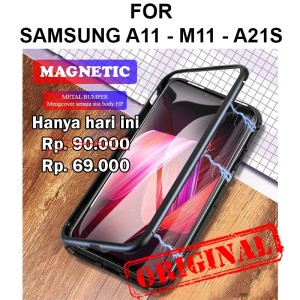 Harga magnetic case samsung a11   m11   a21s casing hp tempered glass cover   a11 m11 | HARGALOKA.COM
