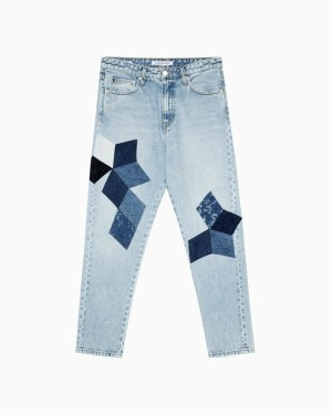 Harga calvin klein   celana jeans wanita   ckj 020 patchwork high slim jeans   biru   HARGALOKA.COM