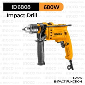 Harga impact drill 13 mm 680w ingco id6808 bor tembok 13mm variable | HARGALOKA.COM