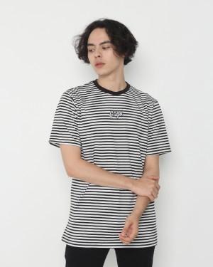 Harga erigo t shirt stripe cora white black   | HARGALOKA.COM