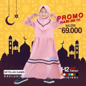 Harga gamis bayi perempuan baju muslim bayi cewek setelan dress anak premium   pink 1 2 | HARGALOKA.COM