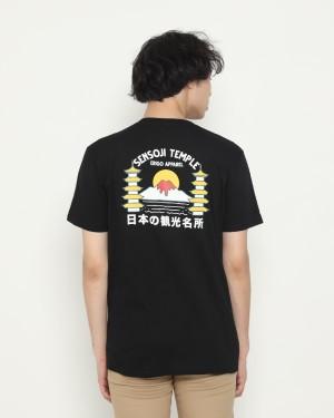 Harga kaos pria erigo t shirt sensoji temple catton combed black   | HARGALOKA.COM