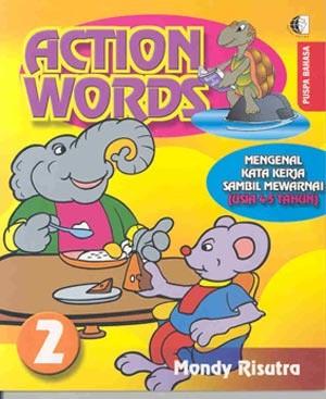 Harga action words 2 mengenal kata kerja sambil mewarnai usia 4 5 tahun   HARGALOKA.COM