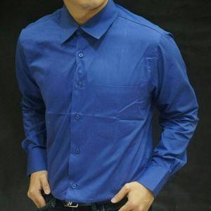 Harga kemeja lengan panjang polos biru bca bahan katun halus | HARGALOKA.COM