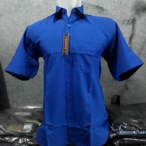 Harga kemeja lengan pendek polos folmal biru bca bahan katun halus | HARGALOKA.COM