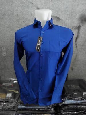 Harga kemeja lengan panjang polos biru bca bahan katun halus dan | HARGALOKA.COM