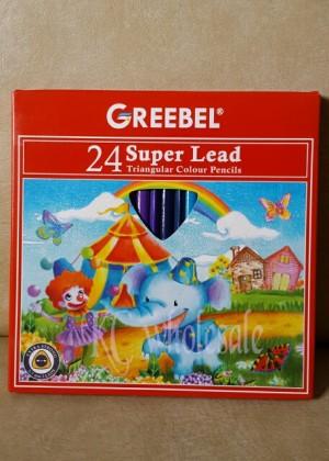 Harga atk42gb 24 warna pensil warna segitiga triangular super lead | HARGALOKA.COM