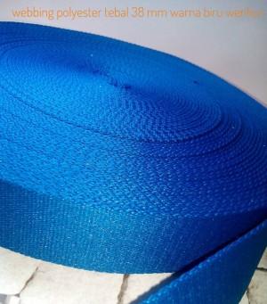 Harga webbing tali tas polyester tebal 2mm halus 1 roll warna biru | HARGALOKA.COM