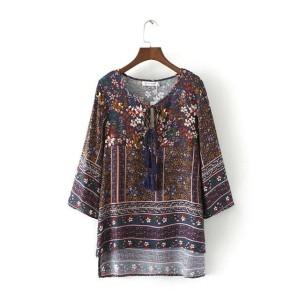 Harga atasan blouse blus etnik boho tassel motif batik bohemian import | HARGALOKA.COM