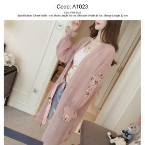 Harga embroidered long sleeve cardigan wanita dengan motif bunga   merah muda   HARGALOKA.COM
