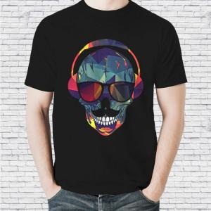 Harga baju kaos distro karakter keren pria unisex headset skull   hitam | HARGALOKA.COM