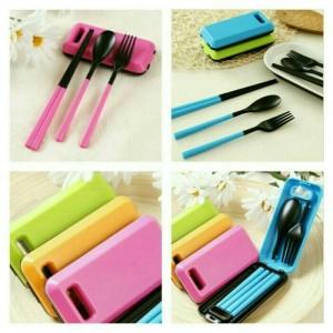Harga sendok traveling 3 in 1 sendok garpu dan sumpit travel cutlery | HARGALOKA.COM