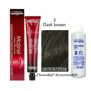 Harga loreal majirel 3 dark brown pewarna rambut hair color   oxi 6 persen | HARGALOKA.COM