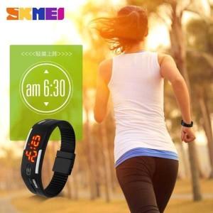 Harga jam tangan digital led wanita skmei rope 1099 hitam original tahan   HARGALOKA.COM